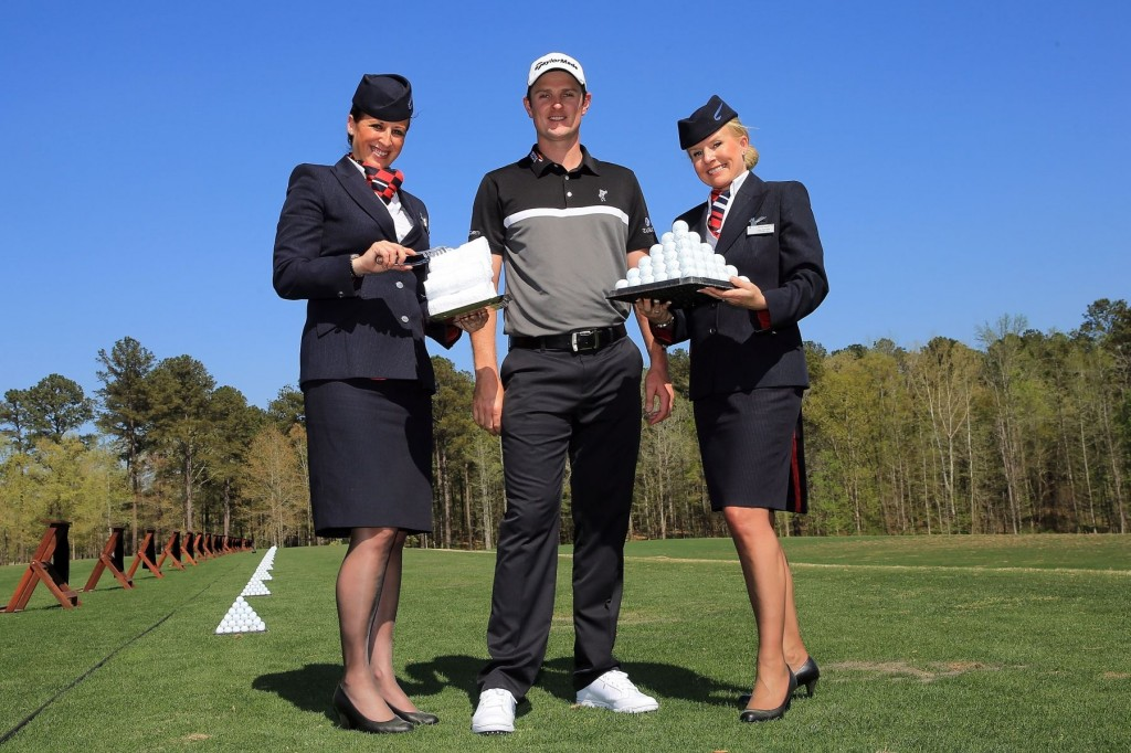 AUGUSTA, GA - APRIL 10:  World number three golfer Justin Rose of Great Britain poses with British Airways Ambassadors Rebecca Sullivan (L) and Lisa Cousins (R) for pictures during a photo shoot ahead of the US Masters to mark the start of his partnership with British Airways on April 10, 2013 in Augusta, Georgia. Rose has signed an exclusive three-year partnership with British Airways who become his Official Global Airline Partner on April 10, 2013 in Augusta, Georgia.  (Photo by David Cannon/Getty Images for British Airways) *** Local Caption *** Justin Rose; Lisa Cousins; Rebecca Sullivan