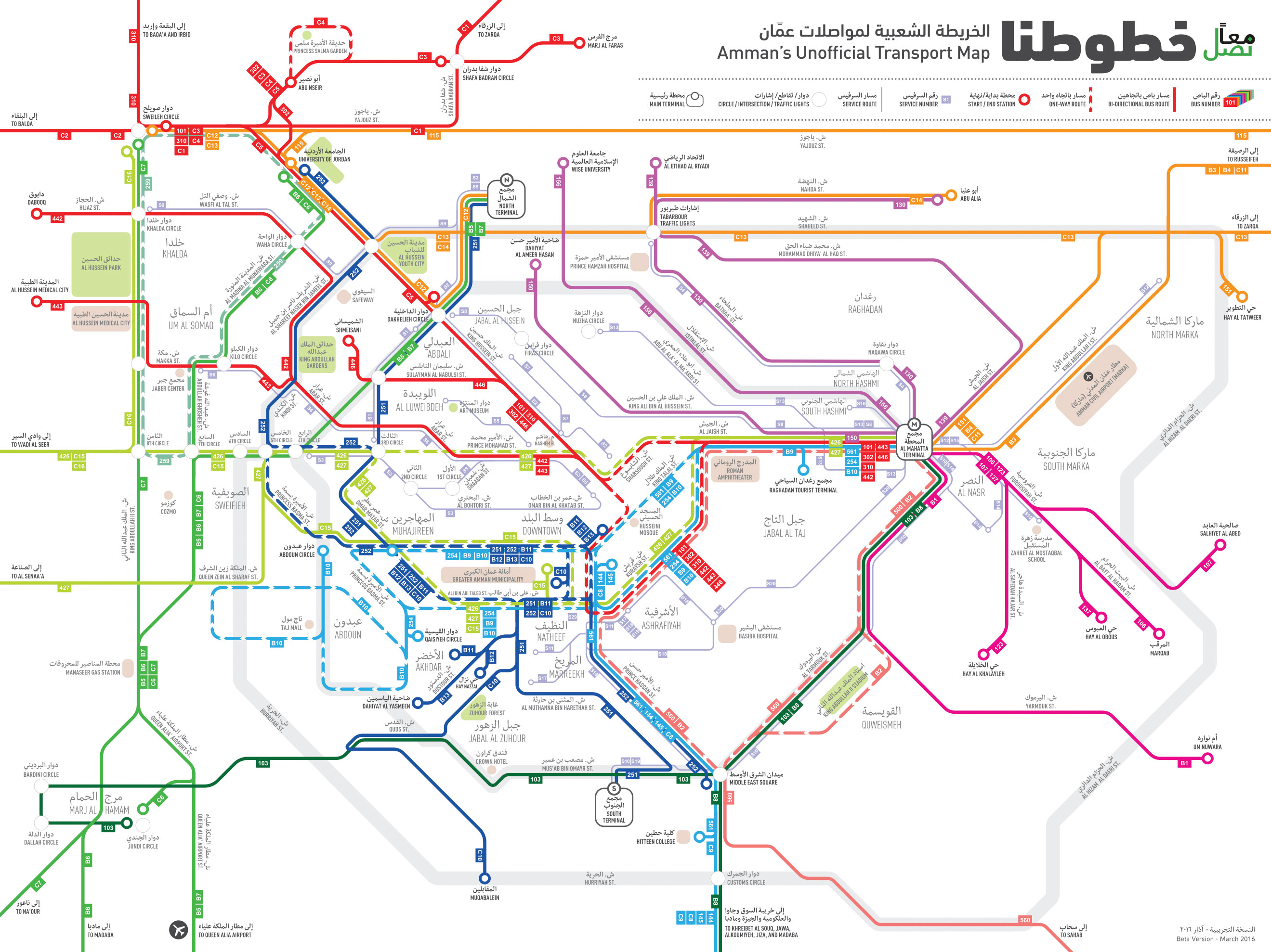 Ma'an Nasel's recently released public transportation map for Amman